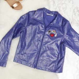 Vintage 90s Shiny Purple Jacket with Patches